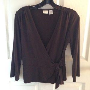 Brown faux wrap shirt w/ side bow.  Machine wash.